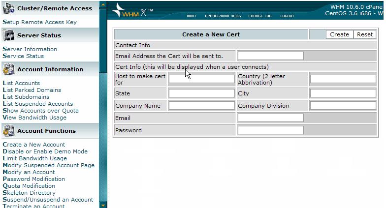 创建新证书