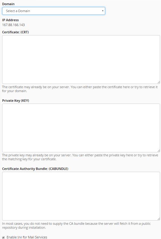 粘贴SSL证书
